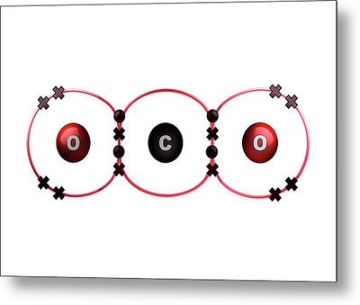 Bond Formation In Carbon Dioxide Molecule Metal Print by Animate4.com/science Photo Libary