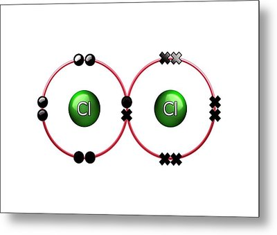 Bond Formation In Chlorine Molecule Metal Print by Animate4.com/science Photo Libary