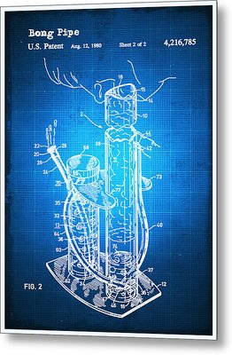 Bong Patent Blueprint Drawing Metal Print