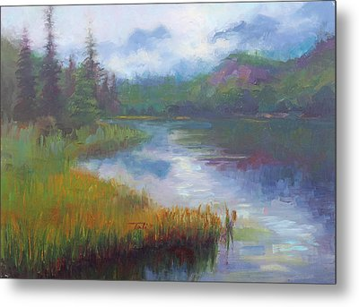Bonnie Lake - Alaska Misty Landscape Metal Print by Talya Johnson