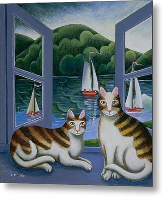 Bonny And Clyde Oil On Board Metal Print
