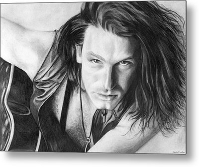Metal Print featuring the drawing Bono by Janice Dunbar
