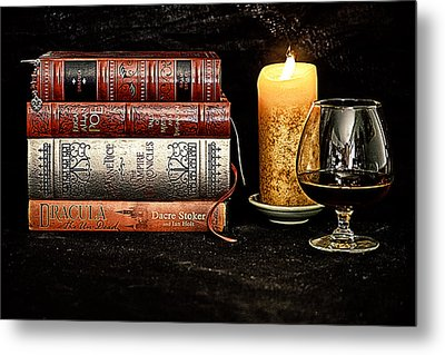 Books And Brandy Metal Print by Jacque The Muse Photography
