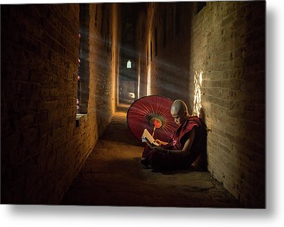 Book And Monk Metal Print