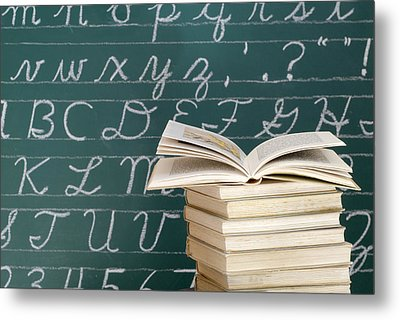 Books And Chalkboard Metal Print