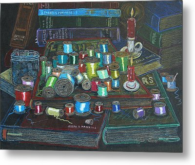 Metal Print featuring the drawing Books And Spools/bernie And Joe by Joseph Hawkins