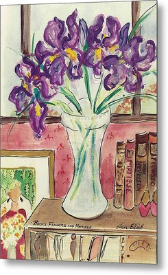 Metal Print featuring the painting Books Flowers And Matisse by Elaine Elliott