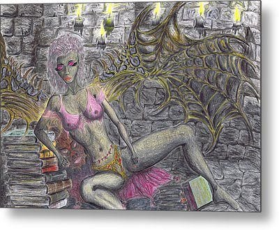 Metal Print featuring the drawing Books Of Solitude. by Kenneth Clarke