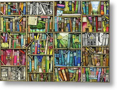Bookshelf Metal Print by Colin Thompson