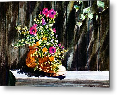 Metal Print featuring the painting Boot Bouquet by Karol Wyckoff