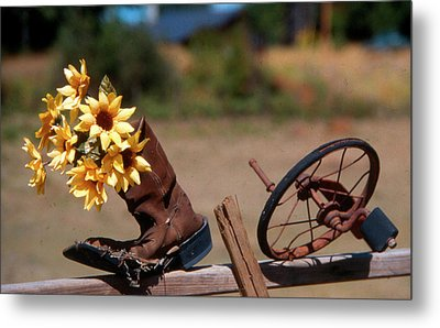 Metal Print featuring the photograph Boot With Flowers by Ron Roberts