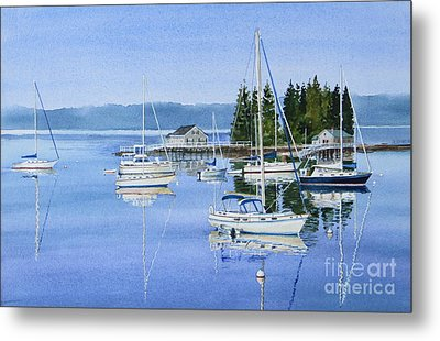 Boothbay Harbor Reflections Metal Print by Karol Wyckoff
