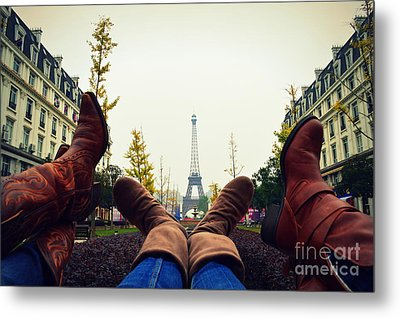 Boots In Paris Metal Print by Shawna Gibson