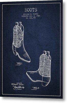 Boots Patent From 1940 - Navy Blue Metal Print