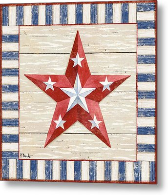 Bordered Patriotic Barn Star Iv Metal Print by Paul Brent