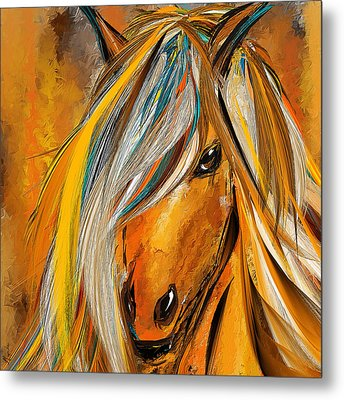 Born Free-colorful Horse Paintings - Yellow Turquoise Metal Print by Lourry Legarde