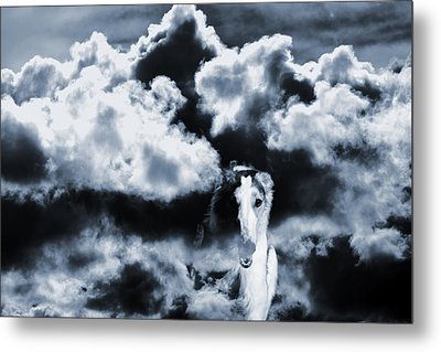 Borzoi Wolf Hound Emerging Through Mist And Clouds Metal Print by Christian Lagereek