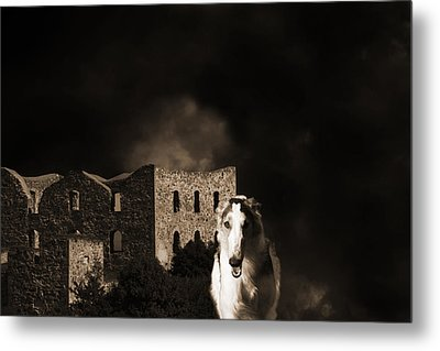 Borzoi Wolf Hound Hunting At Night Metal Print by Christian Lagereek