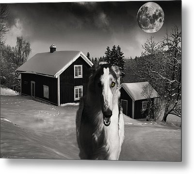 Borzoi Wolf Hound On A Midnight Hunt Metal Print by Christian Lagereek