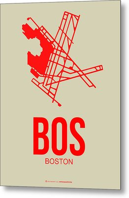 Bos Boston Airport Poster 1 Metal Print by Naxart Studio