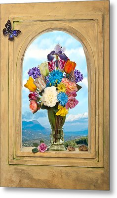Metal Print featuring the photograph Bosschaert - Flowers In A Large Roemer by Levin Rodriguez