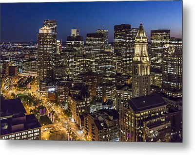Boston And The Custom House Tower At Night Metal Print by Dave Cleaveland