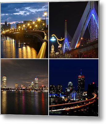 Boston At Night Collage Metal Print by Toby McGuire