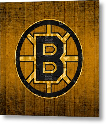 Boston Bruins Hockey Team Retro Logo Vintage Recycled Massachusetts License Plate Art Metal Print by Design Turnpike