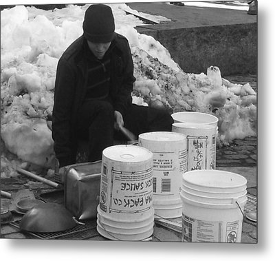Boston Bucket Man Metal Print by Paulo Guimaraes