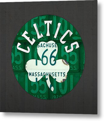Boston Celtics Basketball Team Retro Logo Vintage Recycled Massachusetts License Plate Art Metal Print by Design Turnpike