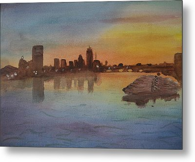 Boston Charles River At Sunset  Metal Print by Donna Walsh
