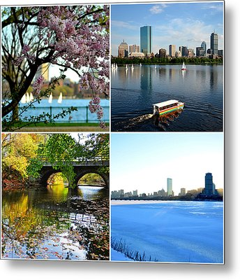 Boston Charles River Four Seasons Collage Metal Print by Toby McGuire