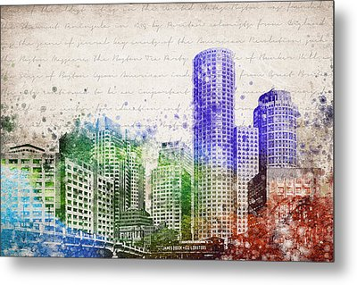 Boston City Skyline Metal Print