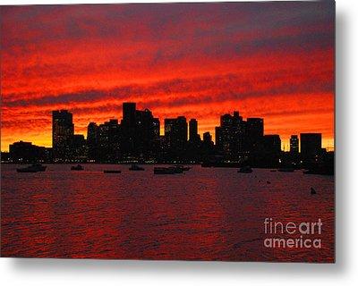 Boston City Sunset Metal Print