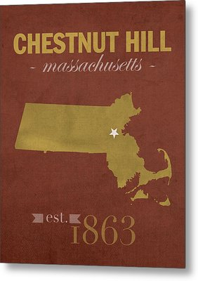 Boston College Eagles Chestnut Hill Massachusetts College Town State Map Poster Series No 020 Metal Print by Design Turnpike
