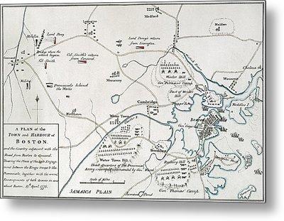Boston-concord Map, 1775 Metal Print by Granger