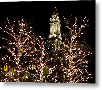 Boston Custom House With Christmas Lights Metal Print