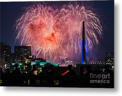 Metal Print featuring the photograph Boston Fireworks 1 by Mike Ste Marie