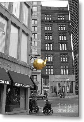 Metal Print featuring the photograph Boston Golden Teapot by Cheryl Del Toro