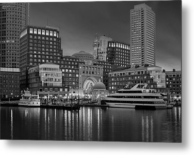 Boston Harbor Skyline And Financial District Bw Metal Print by Susan Candelario