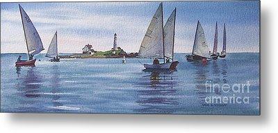 Boston Harbor Spring Sail Metal Print by Karol Wyckoff