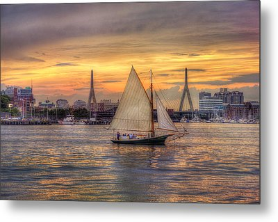 Boston Harbor Sunset Sail Metal Print