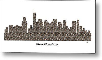 Boston Massachusetts 3d Stone Wall Skyline Metal Print