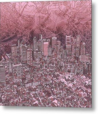 Boston Panorama Abstract Metal Print by Bekim Art