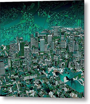Boston Panorama Green Metal Print by Bekim Art