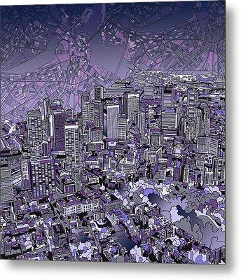 Boston Panorama Purple Metal Print by Bekim Art