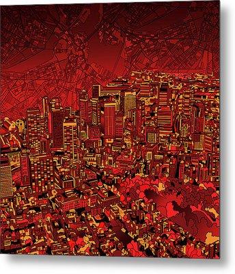 Boston Panorama Red Metal Print by Bekim Art