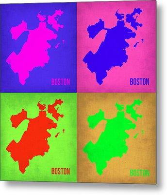 Boston Pop Art Map 1 Metal Print by Naxart Studio