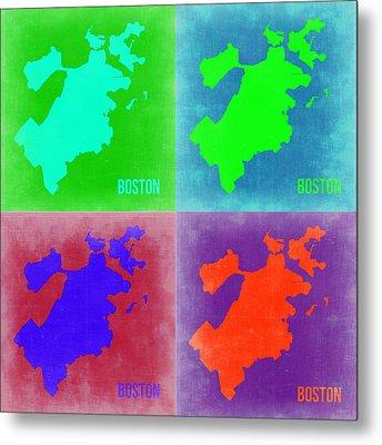 Boston Pop Art Map 2 Metal Print