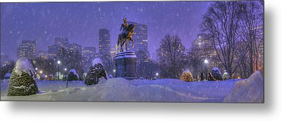 Boston Public Garden In Snow With Boston Skyline Metal Print by Joann Vitali